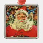 Vintage Christmas, Santa Claus Flying Sleigh Toys Christmas Ornament