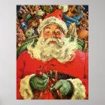Vintage Christmas, Santa Claus Flying Sleigh Toys Print