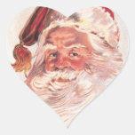 Vintage Christmas Santa Claus Heart Stickers