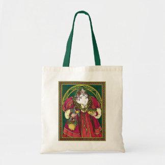 Vintage Christmas, Santa Claus Holly Leaves Bag