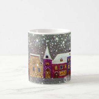 Vintage Christmas, Santa Claus Horse Open Sleigh Basic White Mug