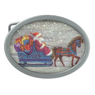 Vintage Christmas, Santa Claus Horse Open Sleigh Oval Belt Buckle