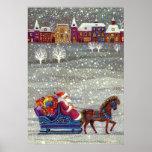 Vintage Christmas, Santa Claus Horse Open Sleigh Print