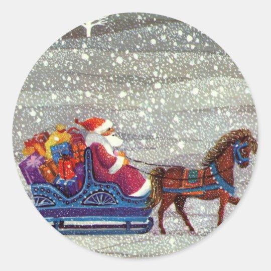 Vintage Christmas, Santa Claus Horse Open Sleigh Round Sticker