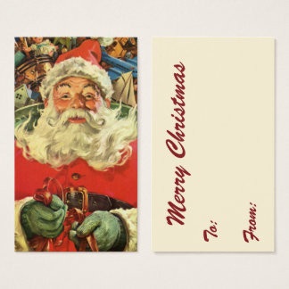 Vintage Christmas, Santa Claus in Sleigh with Toys Business Card