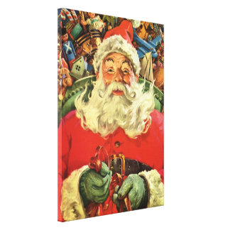 Vintage Christmas, Santa Claus in Sleigh with Toys Canvas Print