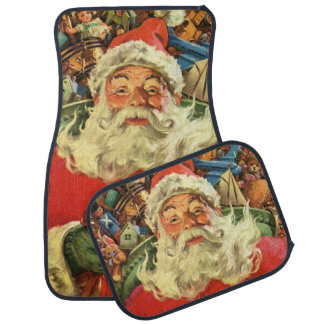 Vintage Christmas, Santa Claus in Sleigh with Toys Car Mat