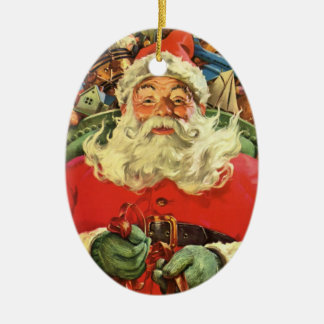 Vintage Christmas, Santa Claus in Sleigh with Toys Ceramic Ornament