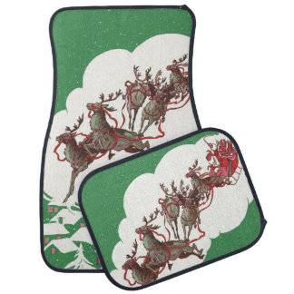 Vintage Christmas, Santa Claus is Coming to Town Floor Mat