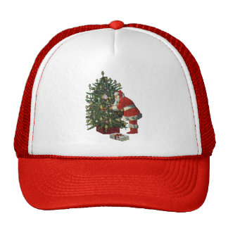 Vintage Christmas, Santa Claus Lit Candles on Tree Mesh Hats