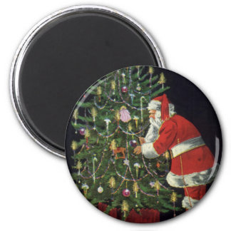 Vintage Christmas, Santa Claus Lit Candles on Tree Refrigerator Magnet
