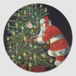 Vintage Christmas, Santa Claus Lit Candles on Tree Stickers