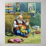 Vintage Christmas, Santa Claus Making Toy Dolls Print