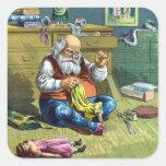 Vintage Christmas, Santa Claus Making Toy Dolls Sticker