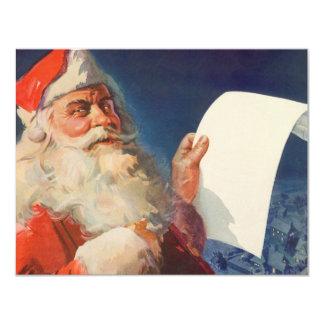 Vintage Christmas, Santa Claus Naughty Nice List 11 Cm X 14 Cm Invitation Card