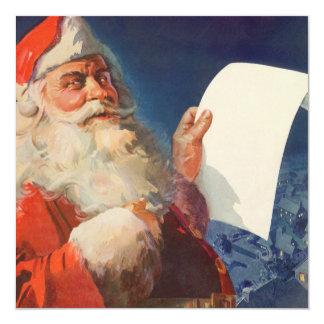 Vintage Christmas, Santa Claus Naughty Nice List 13 Cm X 13 Cm Square Invitation Card