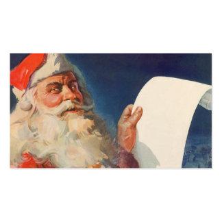 Vintage Christmas, Santa Claus Naughty Nice List Business Card Templates