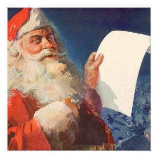 Vintage Christmas Santa Claus Naughty Nice List Personalized Invites