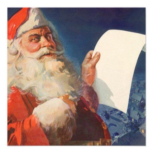 Vintage Christmas, Santa Claus Naughty Nice List Personalized Invites