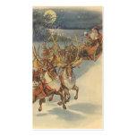 Vintage Christmas Santa Claus Reindeer Sleigh Toys Business Cards