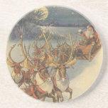 Vintage Christmas Santa Claus Reindeer Sleigh Toys Coasters