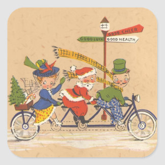Vintage Christmas, Santa Claus Riding a Bicycle Square Sticker