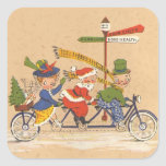 Vintage Christmas; Santa Claus Riding a Bicycle Stickers