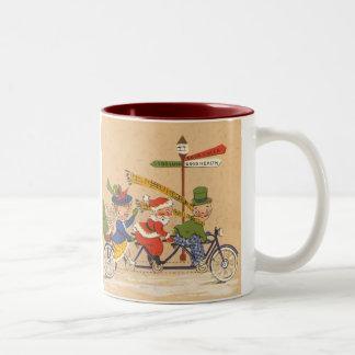Vintage Christmas, Santa Claus Riding a Bicycle Two-Tone Mug