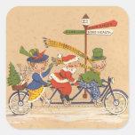 Vintage Christmas, Santa Claus Riding a Bike Square Stickers