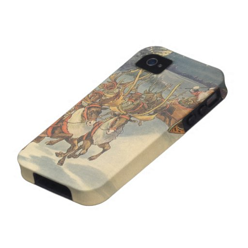 Vintage Christmas Santa Claus Sleigh with Reindeer Case For The iPhone 4