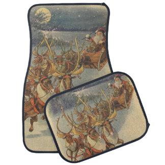 Vintage Christmas Santa Claus Sleigh with Reindeer Floor Mat