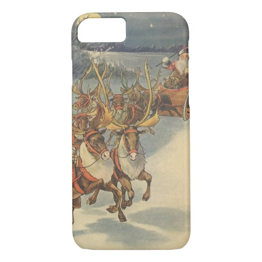 Vintage Christmas Santa Claus Sleigh with Reindeer iPhone 8/7 Case