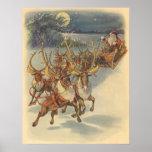 Vintage Christmas Santa Claus Sleigh with Reindeer Poster