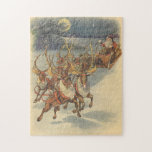 Vintage Christmas Santa Claus Sleigh with Reindeer Jigsaw Puzzles