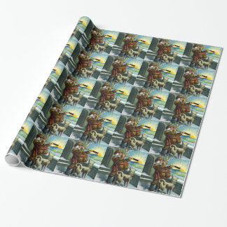 Vintage Christmas Santa Claus Telescope Dog Sunset Wrapping Paper