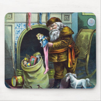 Vintage Christmas, Santa Claus Toys and Stockings Mouse Pad
