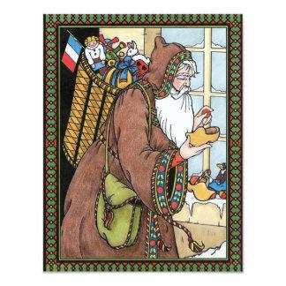 "Vintage Christmas, Santa Claus Toys Clogs Shoes 4.25"" X 5.5"" Invitation Card"