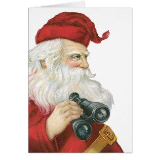 Vintage Christmas, Santa Claus with Binoculars Card