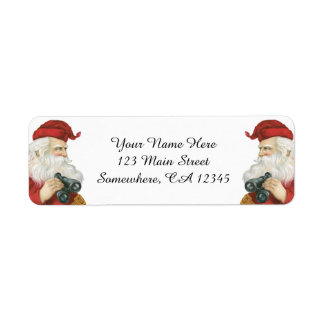 Vintage Christmas, Santa Claus with Binoculars Return Address Label