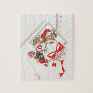 Vintage Christmas, Santa Claus with Candy Canes Jigsaw Puzzle