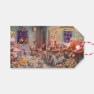 Vintage Christmas, Santa Claus with Elves Workshop Gift Tags