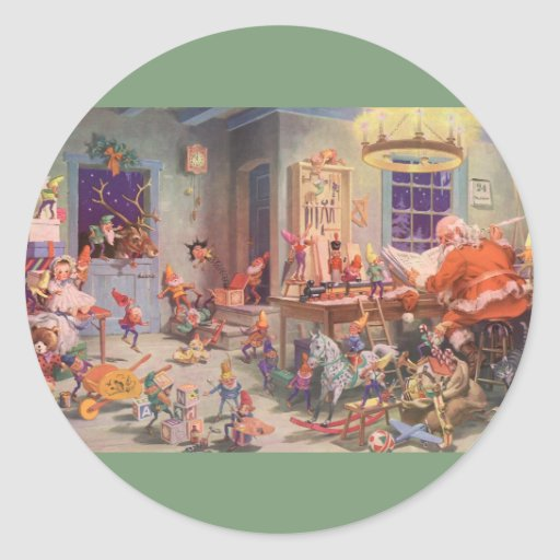Vintage Christmas, Santa Claus with Elves Workshop Classic Round ...