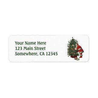 Vintage Christmas, Santa Claus with Presents Return Address Label