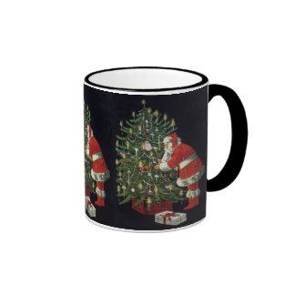 Vintage Christmas, Santa Claus with Presents Ringer Mug
