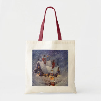 Vintage Christmas, Santa Claus Workshop North Pole Budget Tote Bag