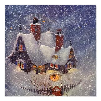 Vintage Christmas, Santa Claus Workshop North Pole 5.25x5.25 Square Paper Invitation Card
