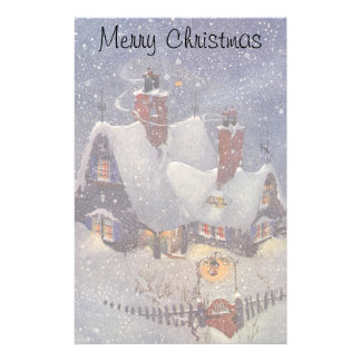 Vintage Christmas, Santa Claus Workshop North Pole Personalized Stationery
