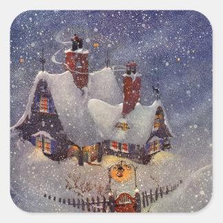 Vintage Christmas, Santa Claus Workshop North Pole Square Sticker