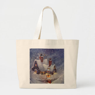Vintage Christmas, Santa Claus Workshop North Pole Jumbo Tote Bag