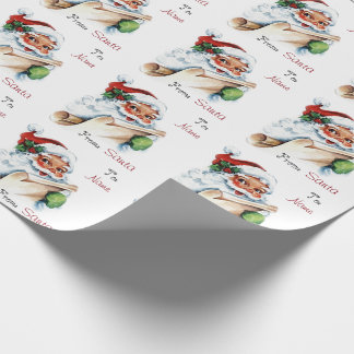 Vintage Christmas Santa Custom To and From Name Wrapping Paper